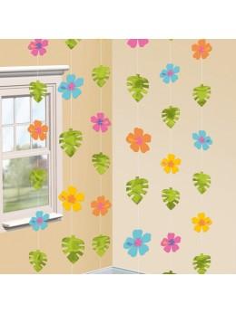 6 guirlandes fleurs et feuilles exotiques