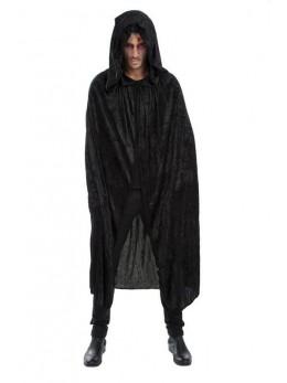 cape capuche velours noir luxe