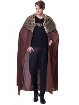 Déguisement cape chevalier fourrure brune