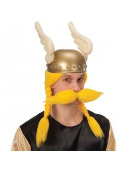 Perruque et moustache de viking jaune