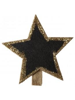 4 ardoises étoiles paillettes or sur pince
