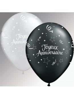 10 ballons luxe anniversaires argent et noir