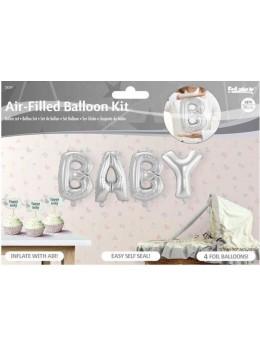 """Ballon lettre """"Baby"""" argent"""