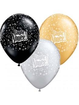 10 ballons Bonne Année noir or argent