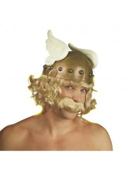 casque gaulois ailé avec perruque