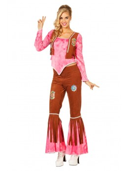 Déguisement hippie pour femme rose