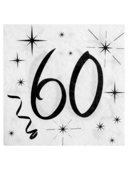 20 serviettes 60 ans