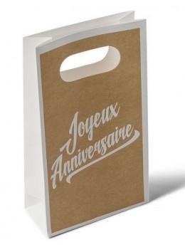 6 pochettes cadeaux anniversaire kraft imprimées blanc