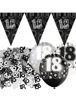 Kit anniversaire noir et argent 18 ans
