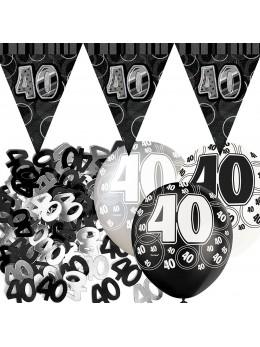 Kit anniversaire noir et argent 40 ans