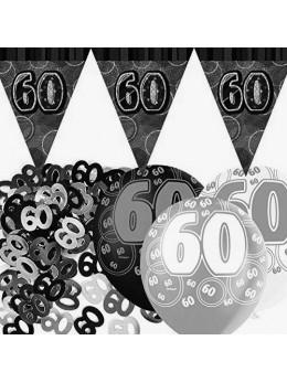 Kit anniversaire noir et argent 60 ans