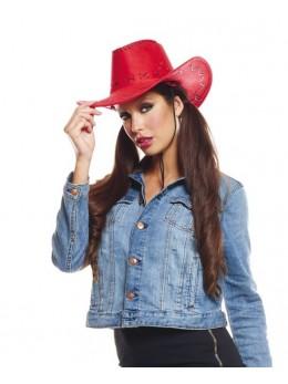 chapeau cowboy cuir rouge