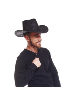 Chapeau cowboy cuir noir