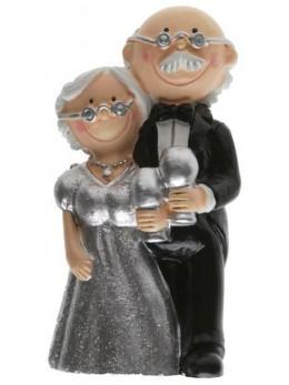 Figurine couple mariés résine Noces d'argent