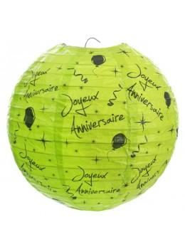 Lanterne Joyeux Anniversaire vert