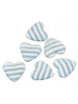 6 Confetti cœur lin rayé bleu pastel