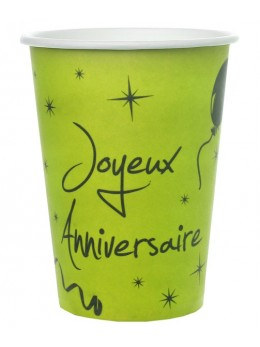 10 Gobelets Joyeux Anniversaire vert