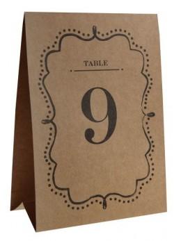 Marque table numéros kraft