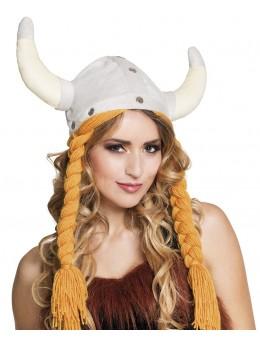 casque viking avec tresses