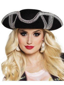 Chapeau Tricorne pirate noir et argent