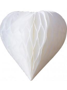 3 mini coeur papier alvéolés 8cm blanc
