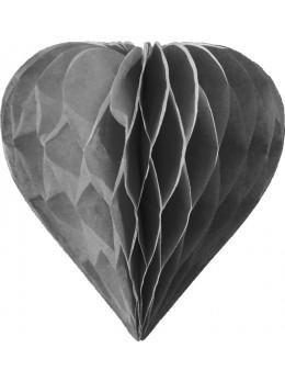 3 mini coeur papier alvéolés 8cm Gris