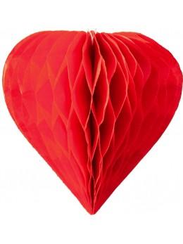 3 mini coeur papier alvéolés 8cm Rouge