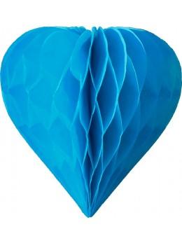 3 mini coeur papier alvéolés 8cm Turquoise