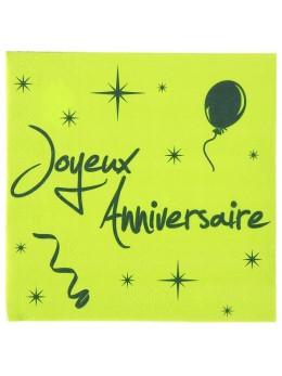 20 Serviettes Joyeux anniversaire vert