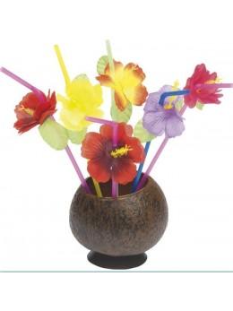 6 Pailles aloha hawai avec fleurs hibiscus 24cm