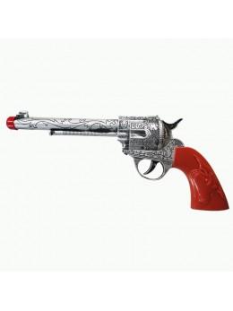 Pistolet cowboy plastique argent 31cm