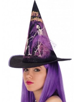 Chapeau de sorcière squelette et tulle