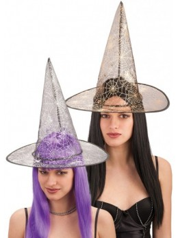 Chapeau sorcière motif araignée
