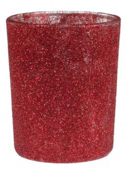 Bougeoir pailleté rouge
