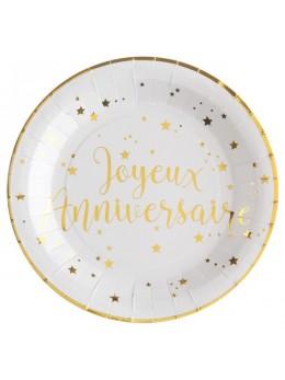 Assiettes joyeux anniversaire métallisé