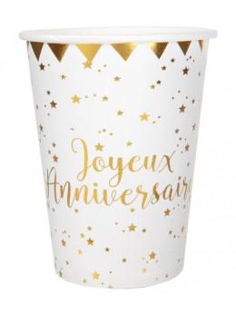 Gobelets  joyeux anniversaire métallisé