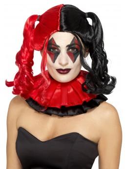 Perruque arlequine deluxe rouge et noire