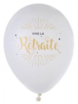 10 Ballons blanc Vive la retraite