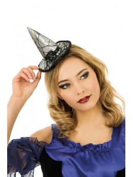 Serre tête mini chapeau sorcière argent