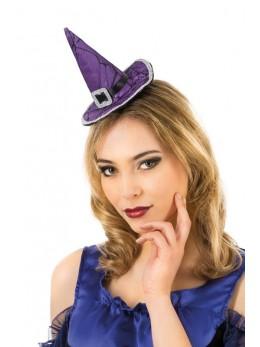 Serre tête mini chapeau sorcière violet