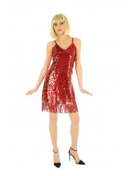 Déguisement robe disco femme rouge luxe