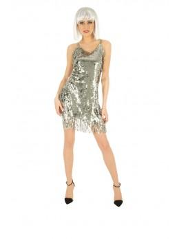 Déguisement robe disco femme argent luxe