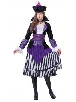 Déguisement lady pirate violette