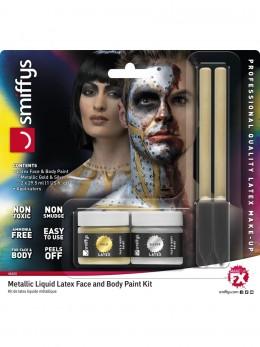 Kit maquillage latex or et argent avec applicateur