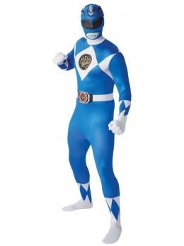 Déguisement seconde peau Power Rangers bleu