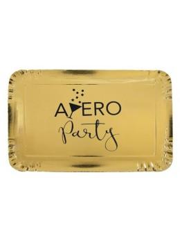 5 Plats rectangulaire carton Apéro Party 28cm