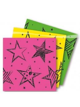 16 Serviettes lunch papier motif fluo