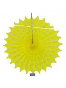 Eventail papier jaune fluo 45cm