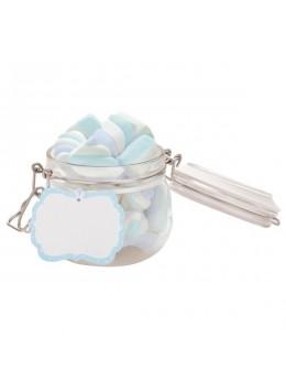 6 étiquettes candy bar bleu