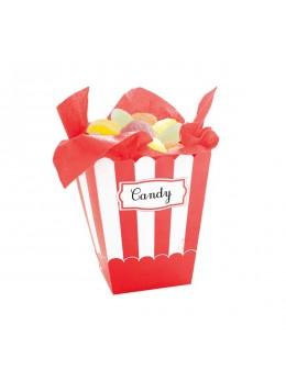 4 boîtes à pop-corn rayés rouge